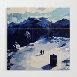 Tardis Art At The Snow Mountain Wood Wall Art