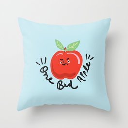 One Bad Apple - cute kawaii funny character illustration Throw Pillow