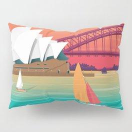 Sydney Australia Travel Poster City Illustration Pillow Sham