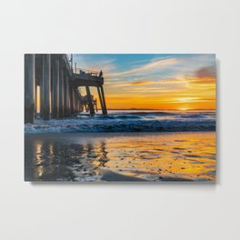 Wet Sand Island Sunset Metal Print