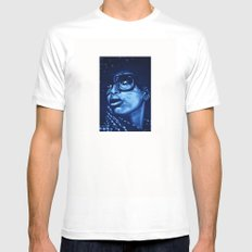 badu?!-blue White MEDIUM Mens Fitted Tee