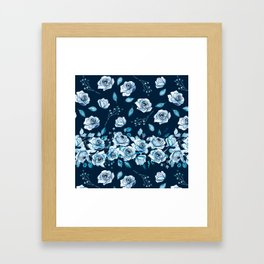 Indigo pattern with watercolor roses. Framed Art Print