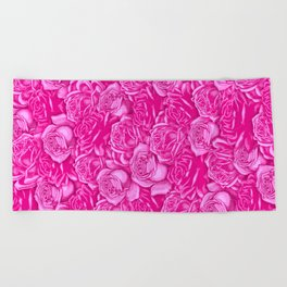 Too Many Pink Roses Beach Towel