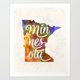 Minnesota US State in watercolor text cut out Art Print