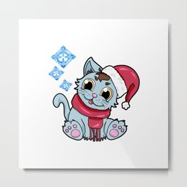 xmas kitty Cat Christmas Winter Metal Print