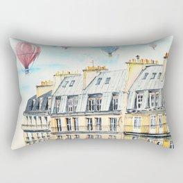 Architecture Paris and air balloon watercolor Rectangular Pillow