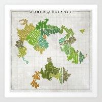 Final Fantasy VI - World of Balance Typographic Map Art Print