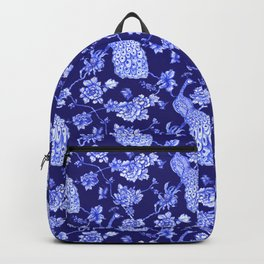 Chinoiserie Peacock Navy Backpack