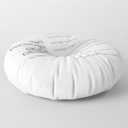 Ten principles for Good Design. By Dieter Rams Floor Pillow