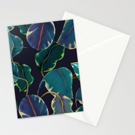 tropical leaves in the nigth Stationery Cards