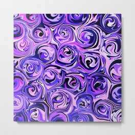 Violet and Lilac Paint Swirls Metal Print