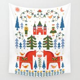 Scandinavian Fairtytale - Green + Red Wall Tapestry