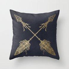 Arrows Gold Copper Bronze on Navy Blue Throw Pillow