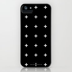 White Plus on Black /// www.pencilmeinstationery.com iPhone (5, 5s) Slim Case