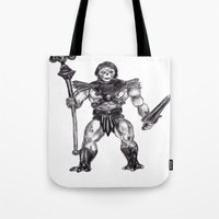 skeletor Tote Bags featuring Skeletor by Furry Turtle Creations