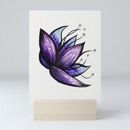 Abstract Flower Doodle Ink Watercolor Drawing Mini Art Print