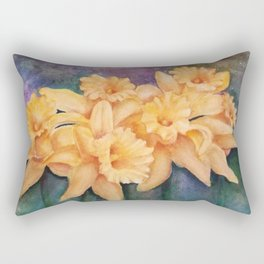 YELLOW DAFFODIL FLOWERS in WATERCOLORS Rectangular Pillow