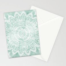 BOHEMIAN FLOWER MANDALA IN TEAL Stationery Cards