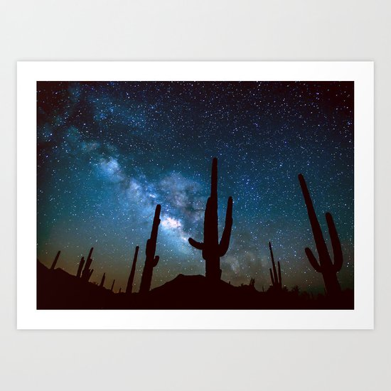 Milky Way Cacti Art Print