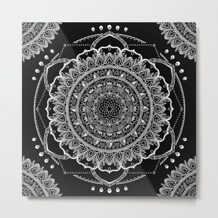 Black and White Geometric Mandala Metal Print