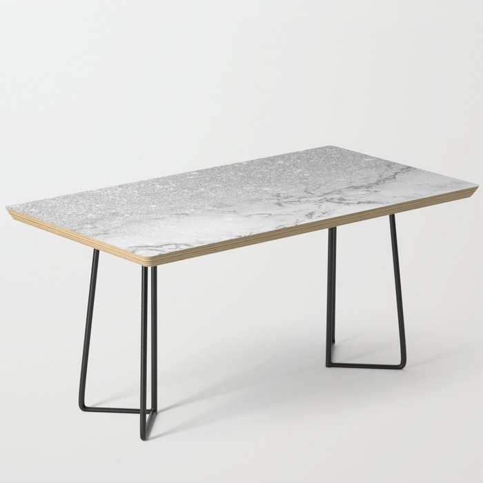Modern Faux Grey Silver Glitter Ombre White Marble Coffee Table By Ytrend