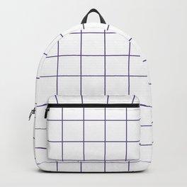 Grid Pattern White Ultra Violet 5F4B8B Stripe Line Minimal Stripes Lines Spring Summer Backpack