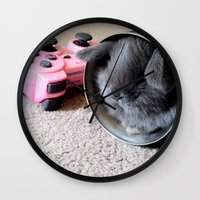 gamer Wall Clocks featuring Gamer Bunny by Natasha Alexandra Englehardt