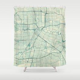 Houston Map Blue Vintage Shower Curtain
