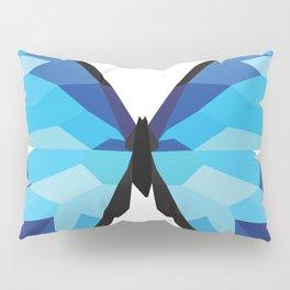 Blue butterfly Low polly artwork Geometric Blues art Pillow Sham