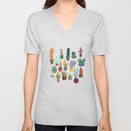 Funky Rainbow Cactus Pattern Unisex V-Neck