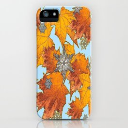Decorative Blue Winters Snowflakes old Autumn Leaves Art iPhone Case