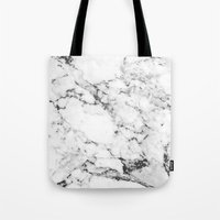 white marble Tote Bags featuring Marble by MatiasMilton