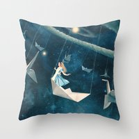marianna Throw Pillows featuring My Favourite Swing Ride by Paula Belle Flores
