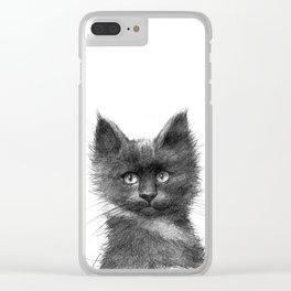 Black Kitten SK135 Clear iPhone Case