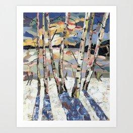 Birches in witnter Art Print