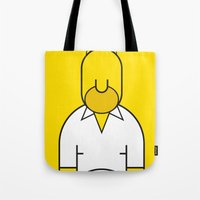 homer Tote Bags featuring Homer by Ale Giorgini
