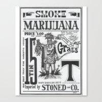 marijuana Canvas Prints featuring SMOKE MARIJUANA by NIGHTJUNKIE