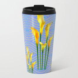 Blue Trellis Golden Yellow Calla Lilies Design Travel Mug