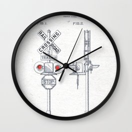 Railroad crossing watercolor Wall Clock