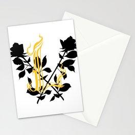 Locust Tattoo roses and L monogram by Sarah de Azevedo Stationery Cards