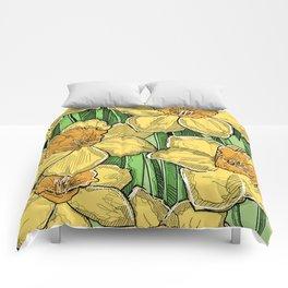 Yellow Daffodils line drawing Comforters