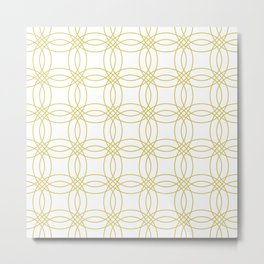 Simply Vintage Link Mod Yellow on White Metal Print