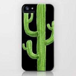 Green Cactus on Black iPhone Case