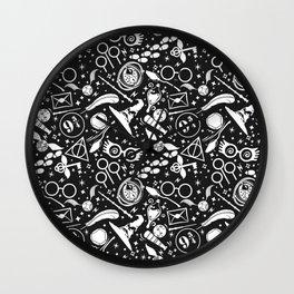 Harry P wizard boy symbols pattern, magical world high school Wall Clock