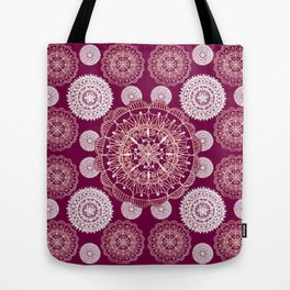 Berry and Bright Patterned Mandalas Tote Bag