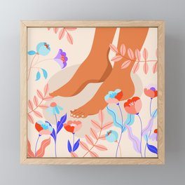 Female feet touching the floral ground. Feet and flowers modern poster. Framed Mini Art Print