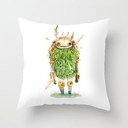 Green Samurai Throw Pillow
