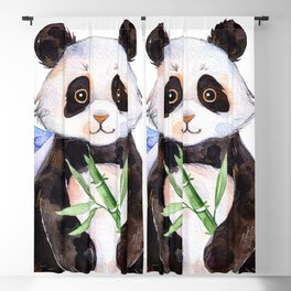 White Panda Watercolors Illustration Blackout Curtain