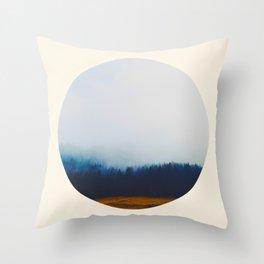Blue Trees & Mountains Round Photo Throw Pillow