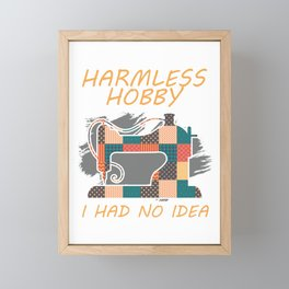 Harmless Hobby Quilting Sewing Machine Patchwork Gift Framed Mini Art Print